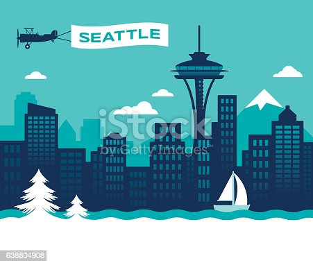 Seattle Washington USA skyline concept illustration. EPS 10 file. Transparency effects used on highlight elements.