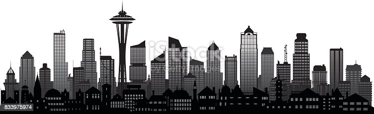 Seattle skyline. All buildings are detailed and complete.