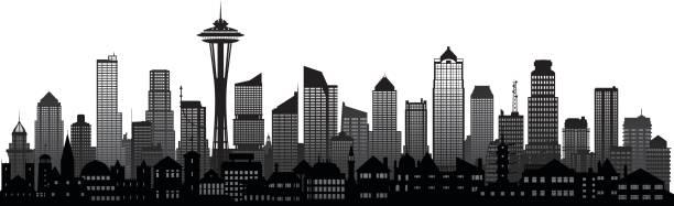 ilustraciones, imágenes clip art, dibujos animados e iconos de stock de skyline de seattle (todos los edificios son detallados y completan) - seattle