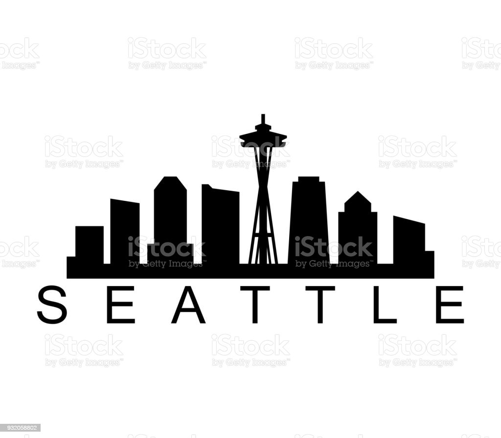 seattle skyline stock vector art more images of architecture rh istockphoto com seattle city skyline vector free seattle skyline silhouette vector