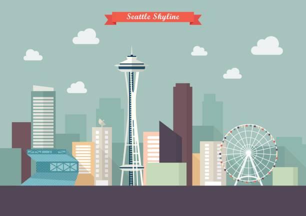 ilustraciones, imágenes clip art, dibujos animados e iconos de stock de ilustración de vector de skyline de seattle - seattle