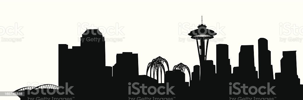 Seattle Skyline Vector Silhouette royalty-free stock vector art