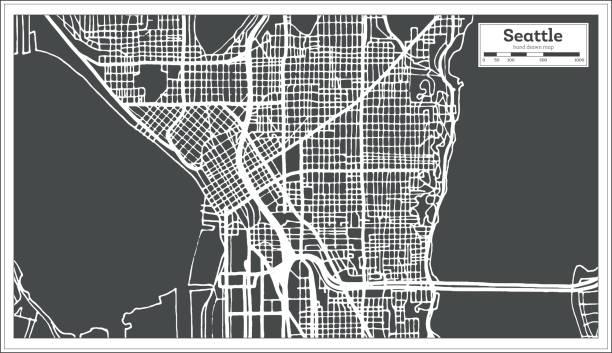 ilustraciones, imágenes clip art, dibujos animados e iconos de stock de mapa de la ciudad de seattle usa en estilo retro. mapa de contorno. - seattle