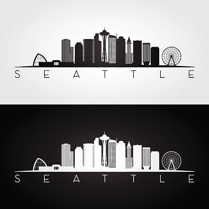 Seattle USA skyline and landmarks silhouette
