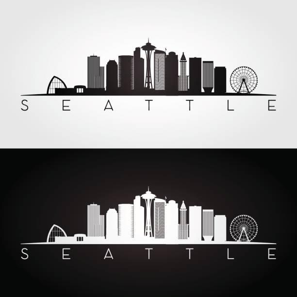 ilustraciones, imágenes clip art, dibujos animados e iconos de stock de silueta de horizonte y puntos de interés de estados unidos seattle - seattle