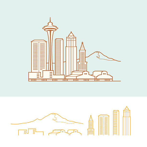 Seattle Stylized cityscape of Seattle. Background, fill, and city outline are on separate layers. Outlines on the top illustration is merged into one compound shape. Elements are separated out on the bottom. waterfront stock illustrations