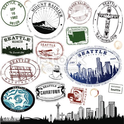 Series of stylized Seattle and Washington Stamps