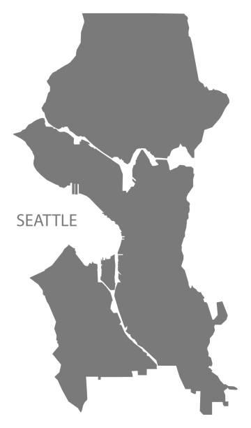 ilustraciones, imágenes clip art, dibujos animados e iconos de stock de forma de seattle washington ciudad mapa gris ilustración silueta - seattle