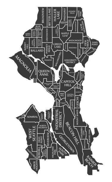 ilustraciones, imágenes clip art, dibujos animados e iconos de stock de ciudad de seattle washington mapa usa etiquetado negro ilustración - seattle