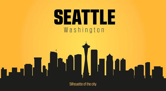 Seattle Washington city silhouette and yellow background.