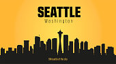 Seattle Washington city silhouette. Seattle Washington city silhouette and yellow background.