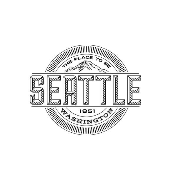 ilustraciones, imágenes clip art, dibujos animados e iconos de stock de seattle, washington. diseño de emblema lineal para camisetas, viajes pegatinas y parches. - seattle
