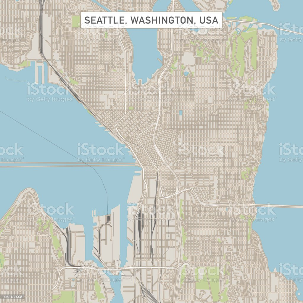 Seattle Washington Us City Street Map Stock Vector Art More Images