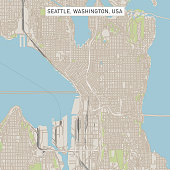 Vector Illustration of a City Street Map of Seattle, Washington, USA. Scale 1:60,000.\nAll source data is in the public domain.\nU.S. Geological Survey, US Topo\nUsed Layers:\nUSGS The National Map: National Hydrography Dataset (NHD)\nUSGS The National Map: National Transportation Dataset (NTD)