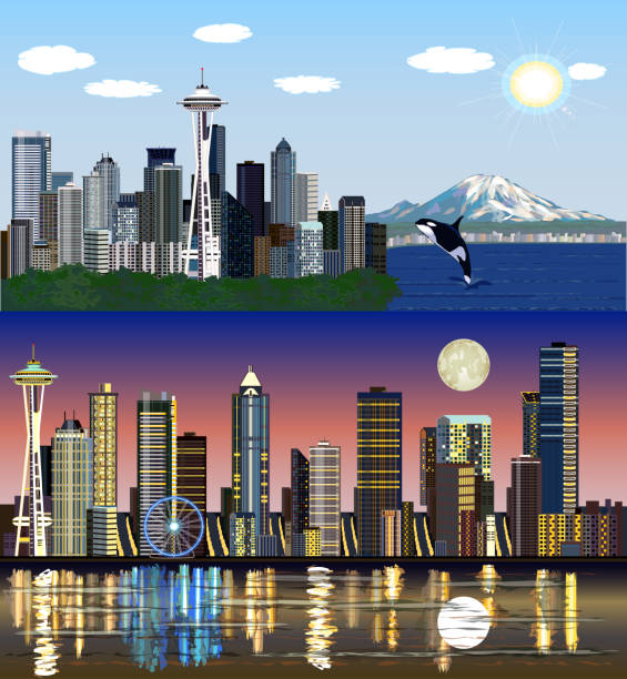 Seattle, Washington, USA - Day and Night Vector Skylines Set waterfront stock illustrations