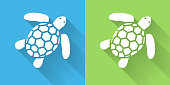 SeaTurtle Icon with Long Shadow. The icon is on Blue Green Background with Long Shadow. There are two background color variations included in this file. The icon is rendered in white color and the background is blue or green. There is also a 45 degree long shadow.