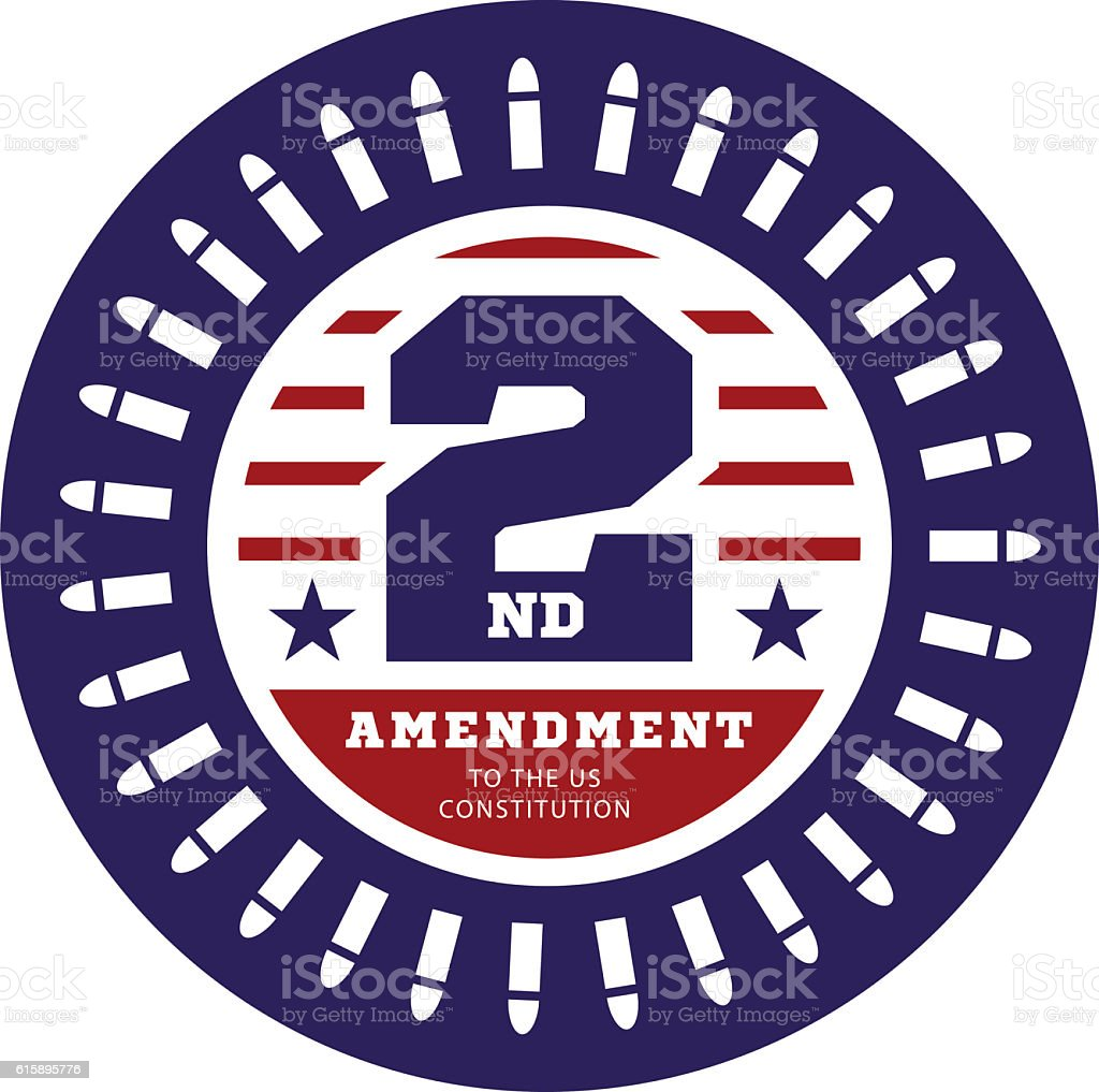 Second Amendment to the US Constitution  permit possession of weapons vector art illustration
