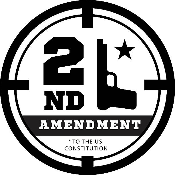 Second Amendment to the US Constitution  permit possession of weapons Second Amendment to the US Constitution to permit possession of weapons. Vector illustration on white gezond stock illustrations
