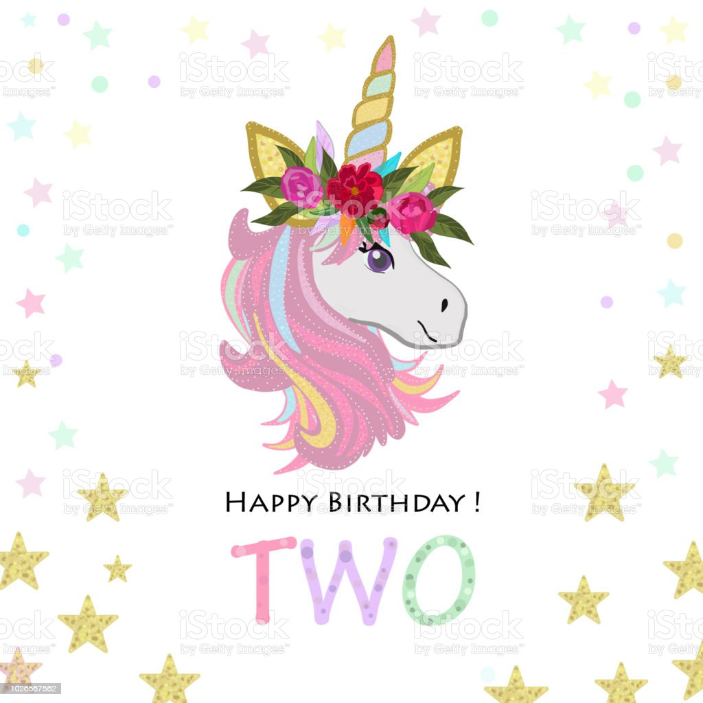 Second birthday greeting two text magical unicorn birthday second birthday greeting two text magical unicorn birthday invitation party invitation greeting card filmwisefo