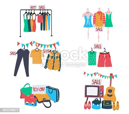 set of second hand clothes and accessories on sale, all in colorful doodle flat style, isolated on white background, illustration, vector