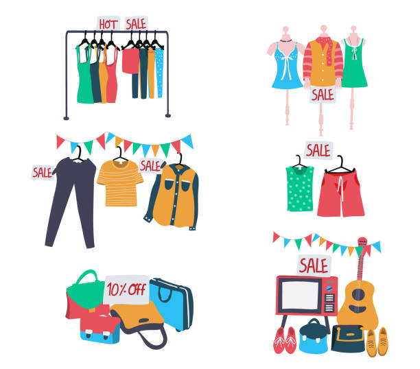 stockillustraties, clipart, cartoons en iconen met tweedehands kleding uitverkoop - clothes