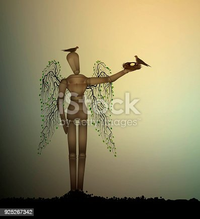 istock second life for recycle wood, creative solution of helping the birds concept, 925267342