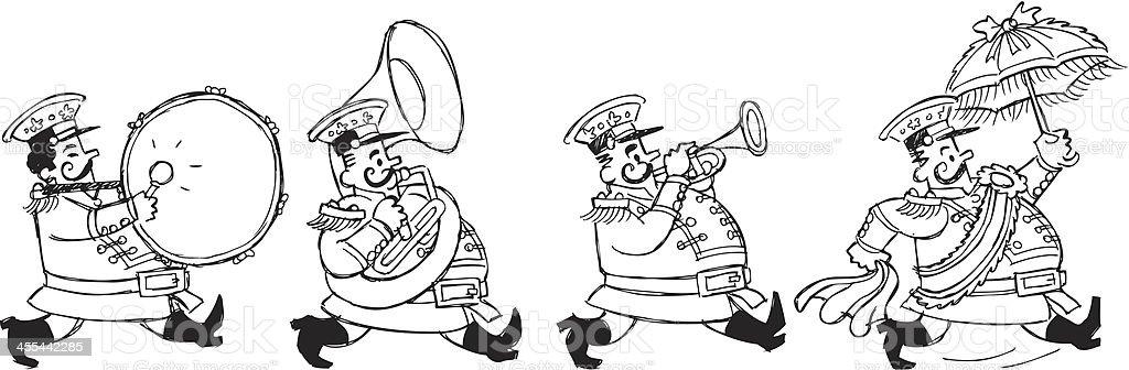 Second Line Band Sketch vector art illustration