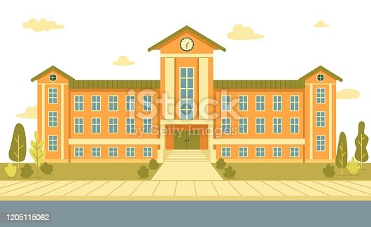 Three Storey and Two Winged Secondary School Old Brick Building with Big Clock and Stairs, Leading to Central Entrance. Green Lawn with Trees, Broad Pavement and Drive. No Students or Buses Around.