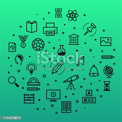 Secondary schools and children's education outline style symbols on modern gradient background. Thin line vector icons for infographics, mobile and web designs.