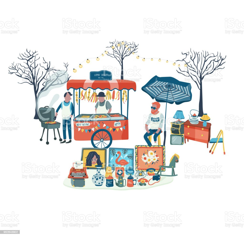 Loja de segunda mão e comida empata em mercado de pulgas - ilustração de arte em vetor