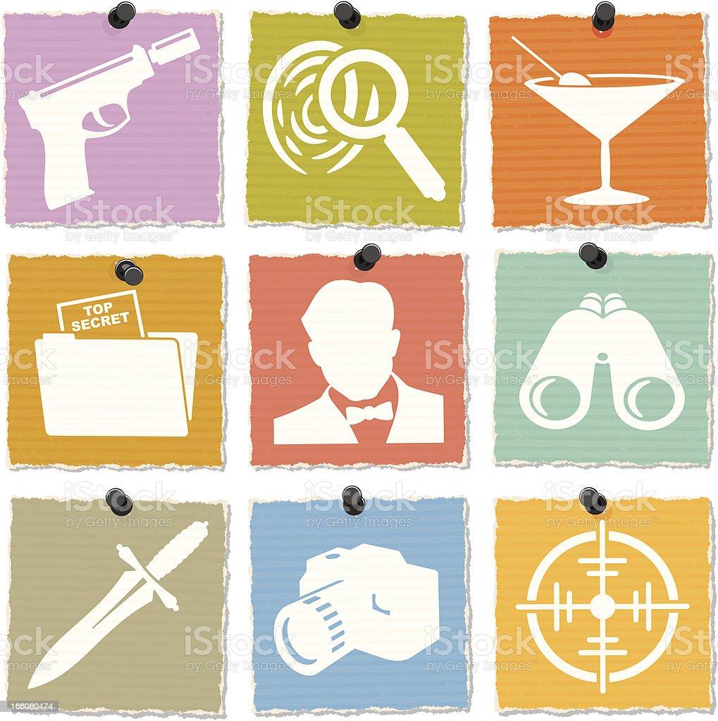 Secret Agent Icons vector art illustration