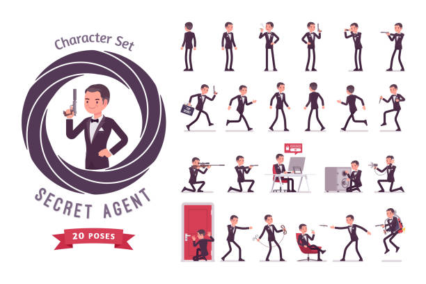 Secret agent man ready-to-use character set vector art illustration
