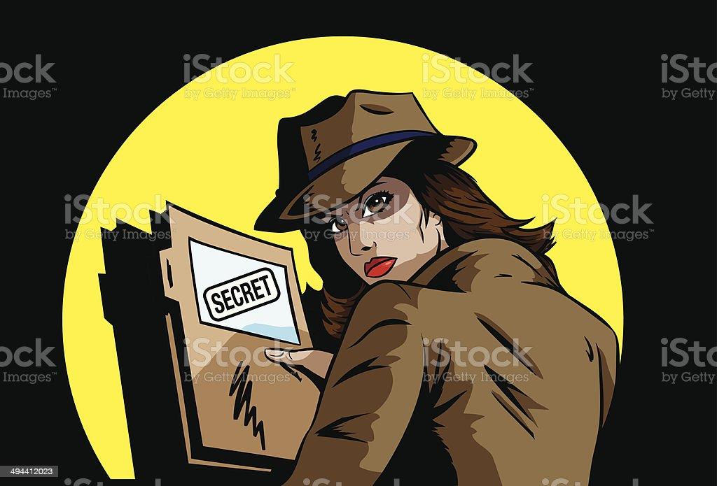 Secret agent with plans vector art illustration
