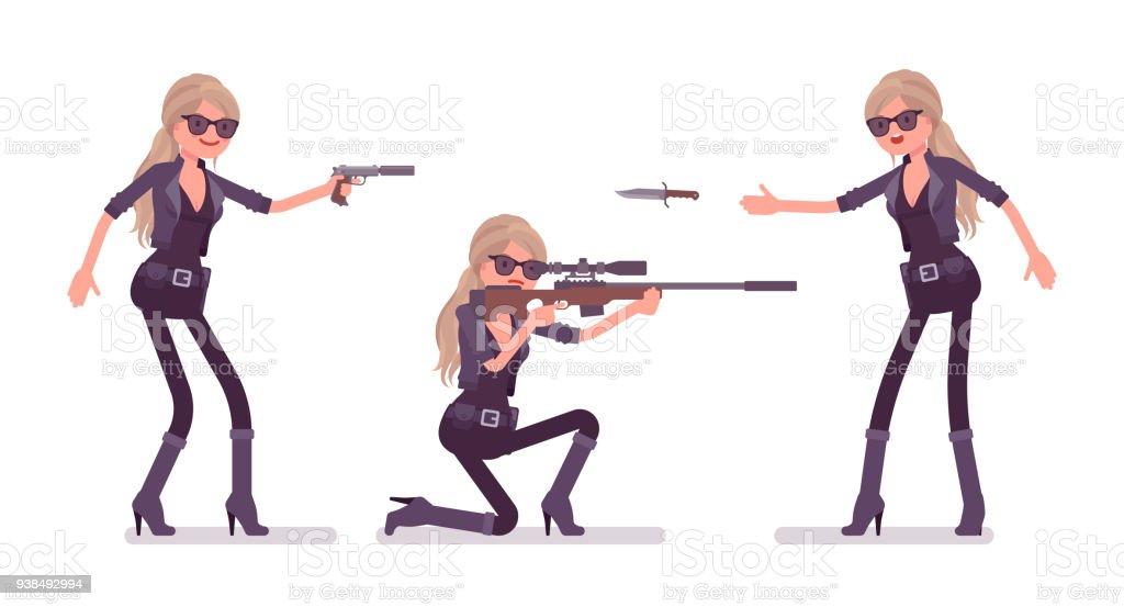 Secret agent woman, lady spy of intelligence service attacking vector art illustration