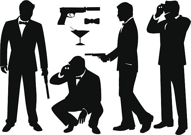 Secret Agents Sharply dressed secret Agent silhouettes including gun, bow tie and cocktail. tuxedo stock illustrations