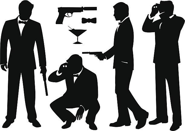 ilustrações de stock, clip art, desenhos animados e ícones de secret agentes - smoking