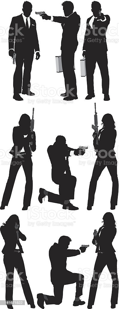 Secret agents with guns royalty-free stock vector art