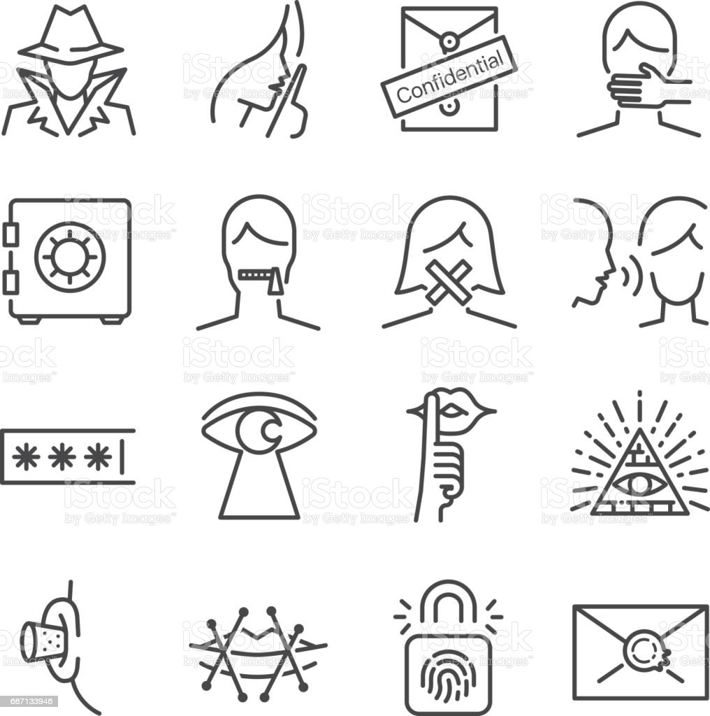 Secret and confidential vector line icon set. Included the icons as secret, lock, whisper, shut up and more. vector art illustration
