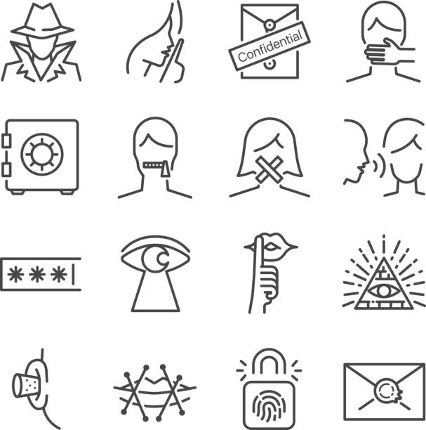 Secret and confidential vector line icon set. Included the icons as secret, lock, whisper, shut up and more. Secret and confidential vector line icon set. Included the icons as secret, lock, whisper, shut up and more. confidential stock illustrations