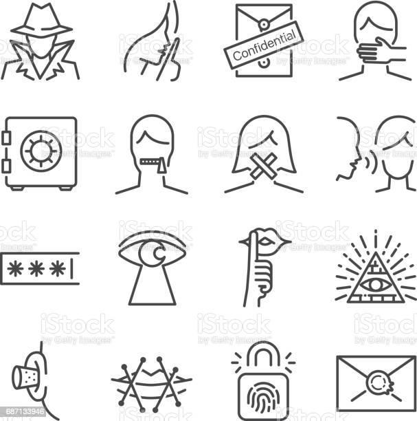 Secret And Confidential Vector Line Icon Set Included The Icons As Secret Lock Whisper Shut Up And More - Immagini vettoriali stock e altre immagini di Anonymous - Rete di attivisti