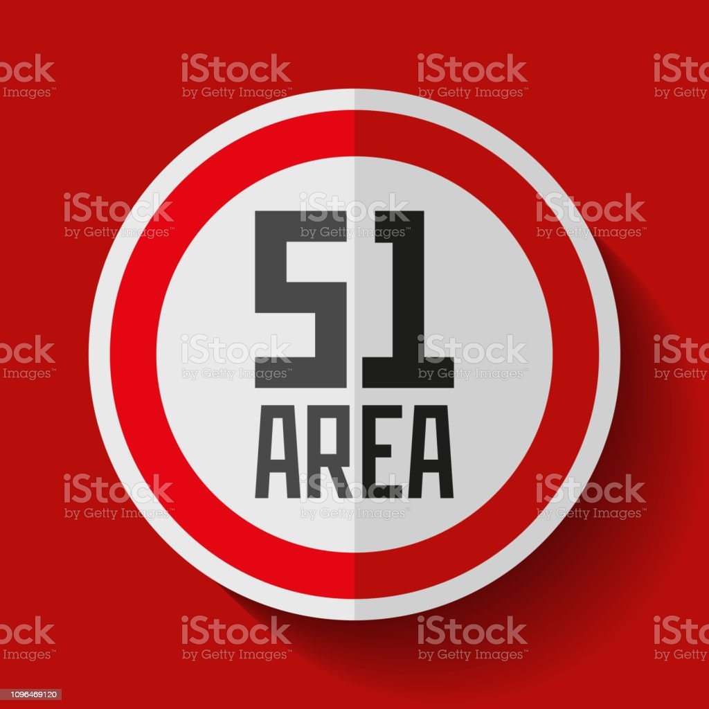Secret Base Area 51 Danger Round Sign On Red Background Vector