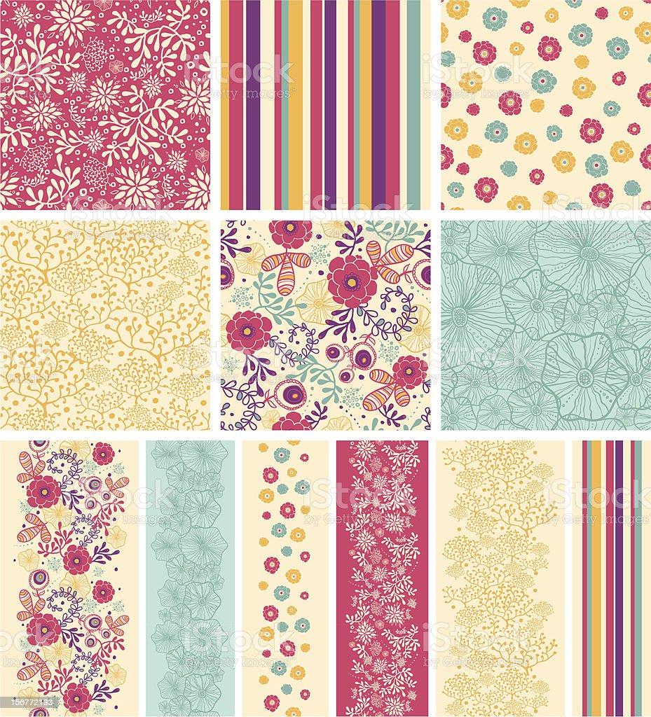 Secret Garden Twelve Matching Seamless Patterns Collection royalty-free stock vector art