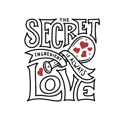 Download Secret Ingredient Is Always Love Lettering Vintage Vector ...