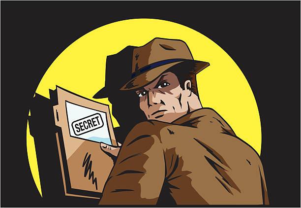 stockillustraties, clipart, cartoons en iconen met secret plans - paranoïde