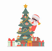 Secret Santa Claus wearing mask hiding behind a christmas tree. Anonymous Father Christmas bringing, sharing traditional new year gifts, unknown volunteer giver. Vector flat style cartoon illustration