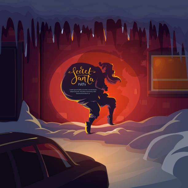 illustrazioni stock, clip art, cartoni animati e icone di tendenza di secret santa claus with christmas gifts - santa claus tiptoeing