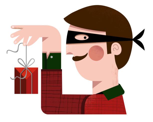 illustrazioni stock, clip art, cartoni animati e icone di tendenza di secret santa - disguised man holding a red, wrapped christmas gift. - santa claus tiptoeing