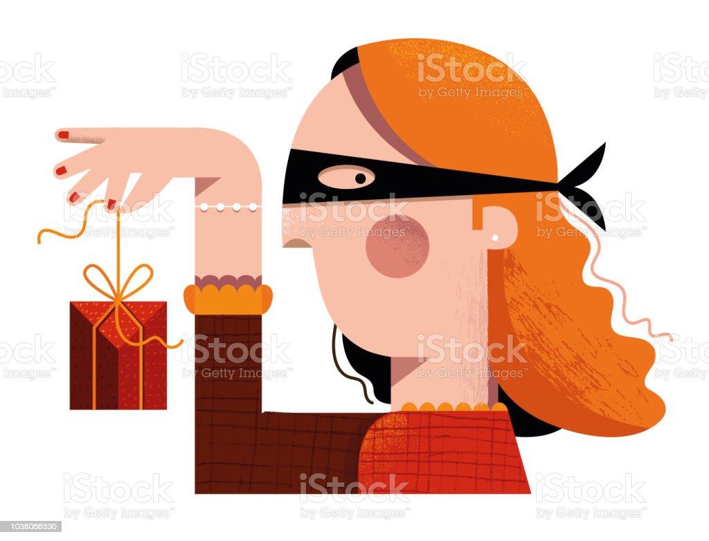 Secret Santa - disguised woman holding a gift vector art illustration