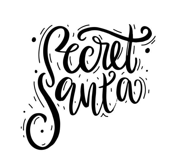secret santa. modern brush calligraphy. vector lettering. - secret santa messages stock illustrations