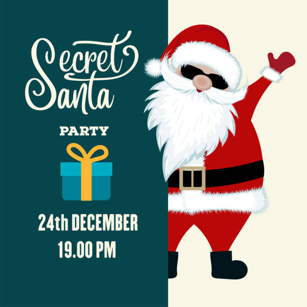 secret santa party invitation - secret santa messages stock illustrations